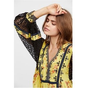 Free People Boogie All Night Printed Blouse S